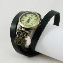 Montre bracelet cuir Appareil photo Noir et Blanc