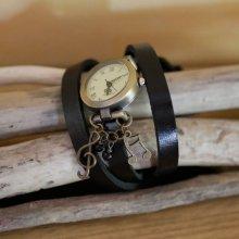 Montre Musique au bracelet triple tour cuir Noir
