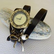 Montre bracelet cuir breloques Noeud et perles