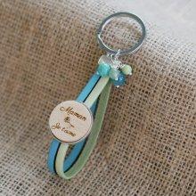 Porte clé cuir double et cabochon en bois personnalisé