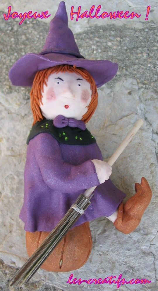 Making a halloween witch in fimo clay - Sorciere halloween a fabriquer ...
