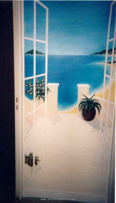 Peinture en trompe l 39 oeil de portes for Peinture porte interieure