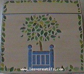 peinture sur bois au pochoir ou pinceau. Black Bedroom Furniture Sets. Home Design Ideas