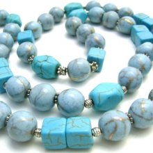 Collier artisanal turquoise-howlite