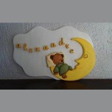 Plaque prénom ourson lune