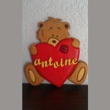 Plaque prénom ourson coeur