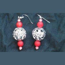 Boucles d'oreilles perles filigranées