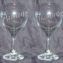 Verre à vin form. 2 Parrain/Marraine, ange, inscription pied