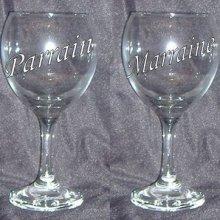 Verre à vin format 2 Parrain ou Marraine et inscription pied