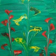 Peinture abstraite - Fleurs aquatiques